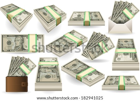 Detailed illustration of a Set of Ten Dollars Banknotes in various positions - stock vector