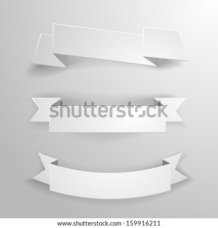 detailed illustration of a set of white paper ribbons and banners - stock vector