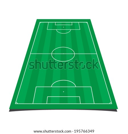 detailed illustration of a soccer field with front perspective - stock vector