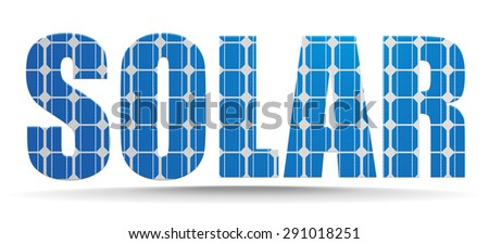 detailed illustration of a solar text with photovoltaik cell pattern, eps10 vector - stock vector