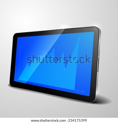 detailed illustration of a tablet computer device with blue growth graph, eps10 vector - stock vector