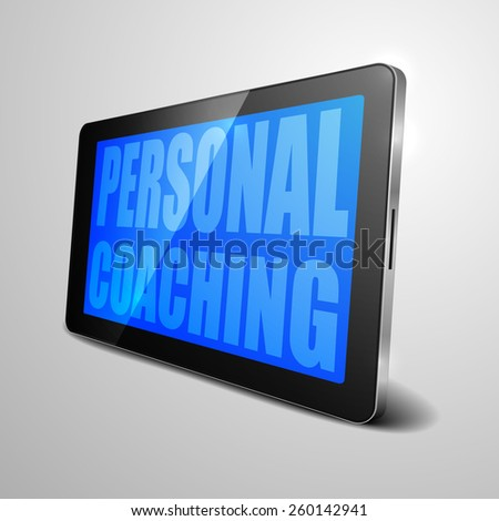 detailed illustration of a tablet computer device with Personal Coaching text, eps10 vector - stock vector