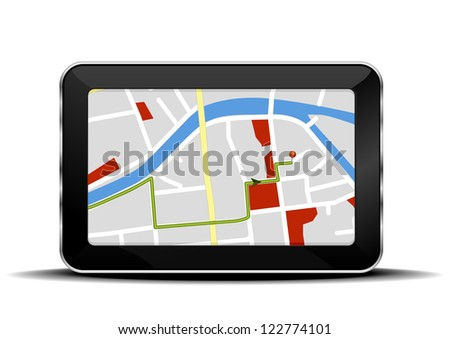 detailed illustration of a tablet mobile pc with a navigation map