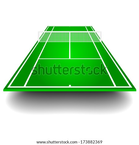 detailed illustration of a tennis court with frontal perspective, eps10 vector - stock vector