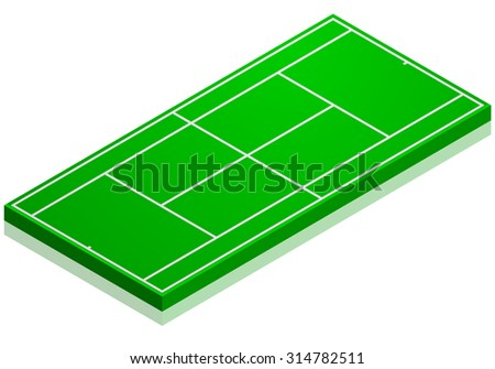 detailed illustration of a tennis court with isometric perspective, eps10 vector - stock vector