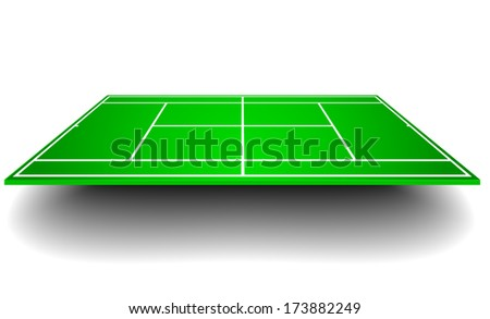 detailed illustration of a tennis court with perspective, eps10 vector - stock vector