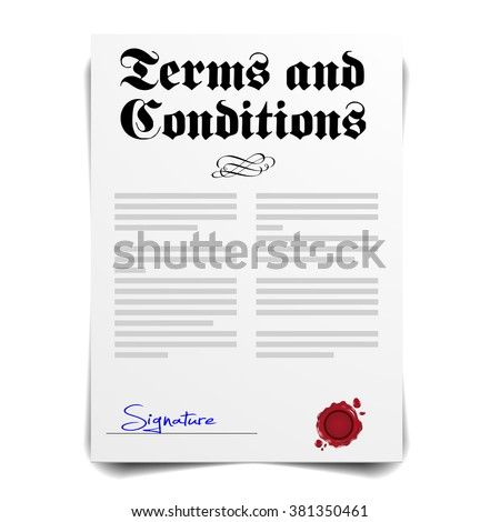 detailed illustration of a Terms and Conditions Letter, eps10 vector - stock vector