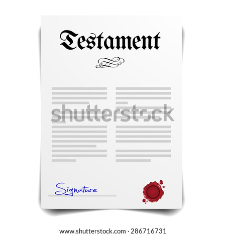 detailed illustration of a Testament Letter, eps10 vector - stock vector