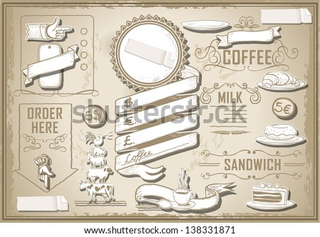 Detailed illustration of a vintage graphic element for bar menu on paper - stock vector