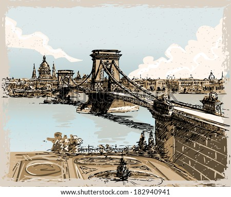 Detailed Illustration of a Vintage Hand Drawn View of Lions Bridge in Budapest - stock vector