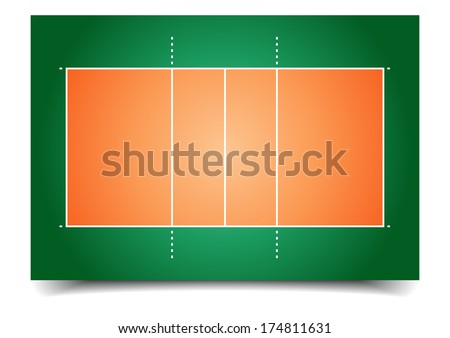 detailed illustration of a volleyball court, eps10 vector - stock vector