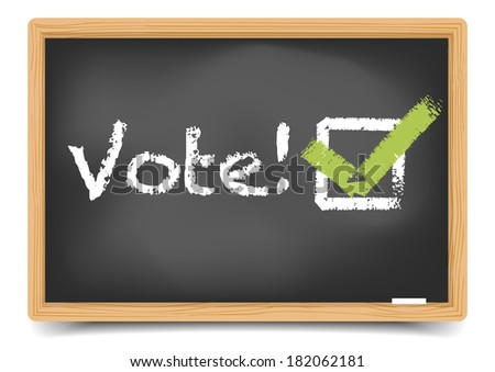 "detailed illustration of a ""vote"" writing with checkbox on a blackboard, eps10 vector, gradient mesh included - stock vector"