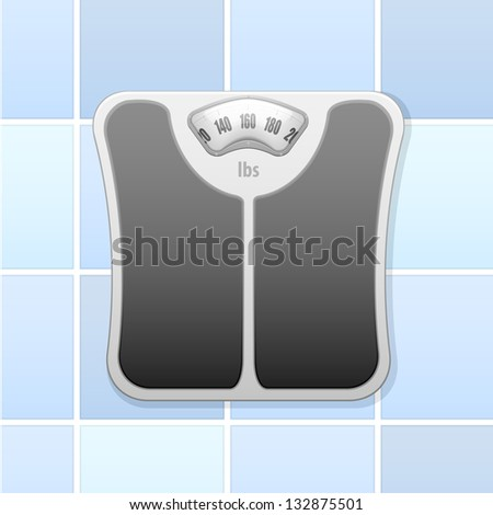 detailed illustration of an analog bathroom scale, eps10 vector - stock vector