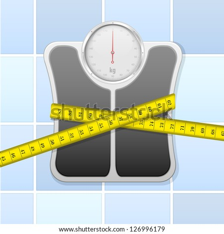 detailed illustration of an analog bathroom scale wrapped in measure tape, eps 10 - stock vector