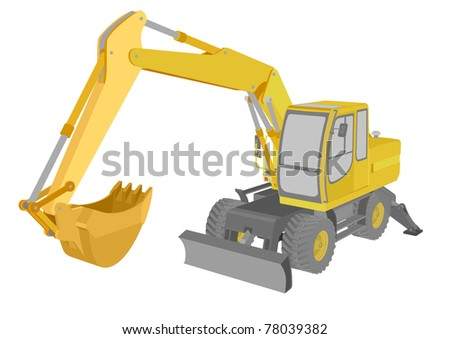 detailed illustration of an excavator - stock vector