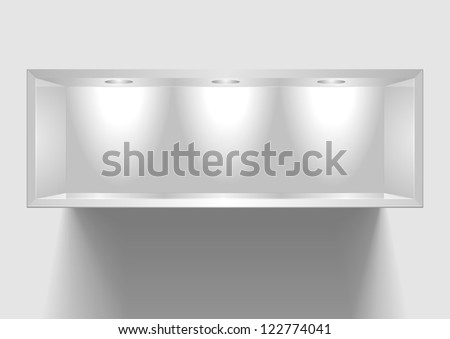 detailed illustration of an exhibition shelf with three lights - stock vector