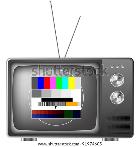 detailed illustration of an old television with antenna and test image, eps8 vector - stock vector