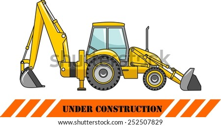 Detailed illustration of backhoe loader, heavy equipment and machinery - stock vector