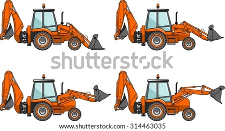 Detailed illustration of backhoe loaders, heavy equipment and machinery.