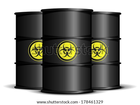 detailed illustration of bio hazard waste barrels, eps10 vector - stock vector