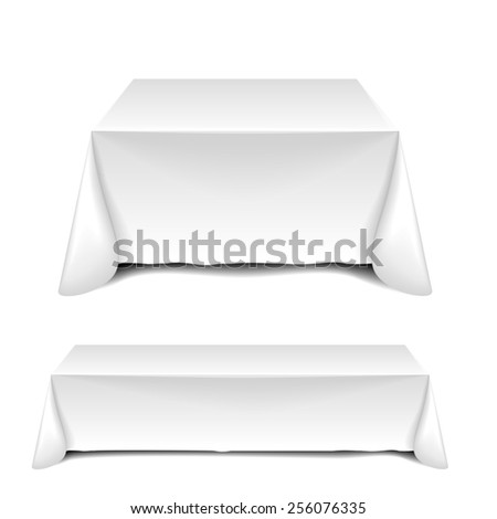 detailed illustration of blank white tables, eps10 vector - stock vector
