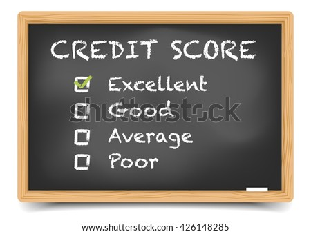 detailed illustration of checkboxes with Credit Score Rating Excellent on a blackboard, eps10 vector, gradient mesh included - stock vector