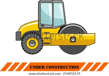 Detailed illustration of compactor, heavy equipment and machinery