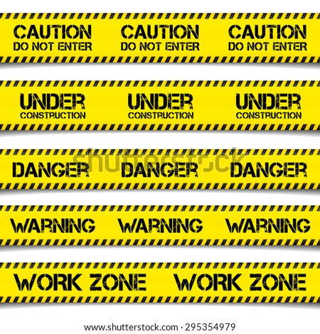 detailed illustration of Construction Caution Tapes, eps10 vector - stock vector