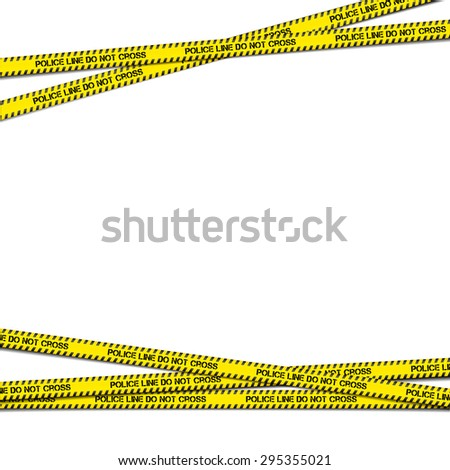 detailed illustration of crossing police tapes with blank copy space, eps10 vector - stock vector