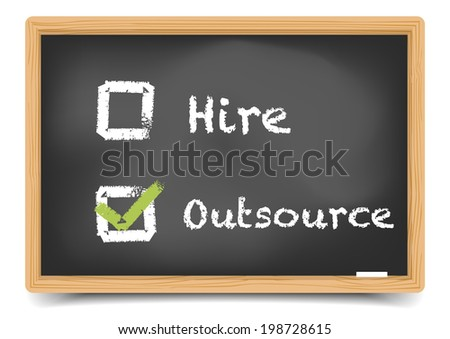 detailed illustration of different checkboxes with hire and outsource options on a blackboard, eps10 vector, gradient mesh included - stock vector