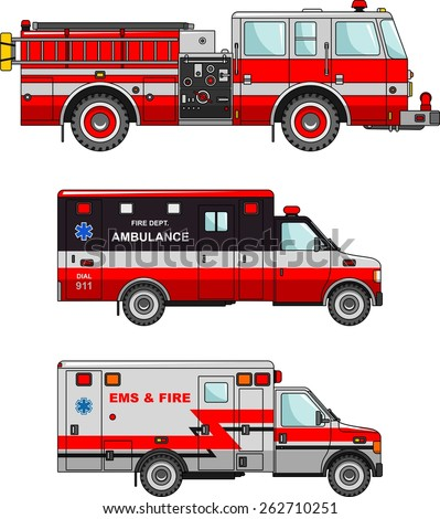 Detailed illustration of fire truck and ambulance cars in a flat style - stock vector