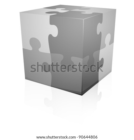 detailed illustration of grey jigsaw puzzle cube, eps8 vector - stock vector