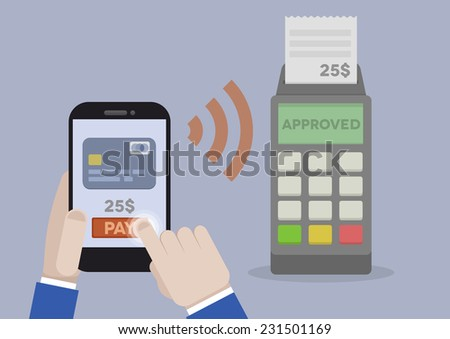 detailed illustration of mobile payment using smartphone and terminal, eps10 vector - stock vector