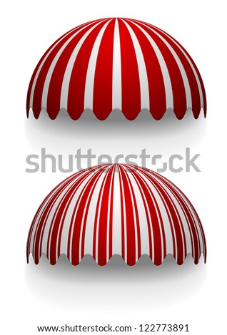 detailed illustration of round striped awnings - stock vector