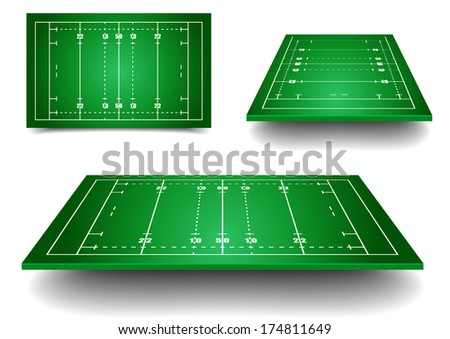detailed illustration of rugby fields with perspective, eps10 vector - stock vector