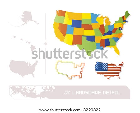 Detailed illustration of 50 separable US states + a pixel and a flag version of USA.