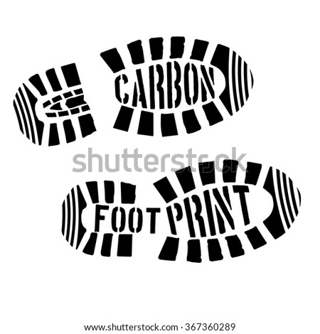 detailed illustration of shoeprints with carbon footprint text, eps10 vector - stock vector