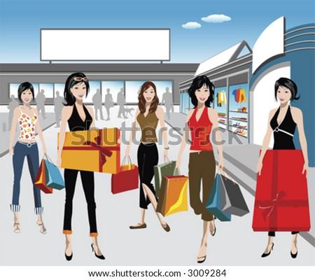 detailed illustration of shopping - stock vector