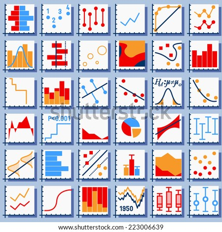 Detailed illustration of Stats Element Set in Various Colors - stock vector