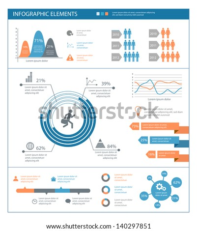 detailed infographic elements set with  graphics and charts eps8 - stock vector