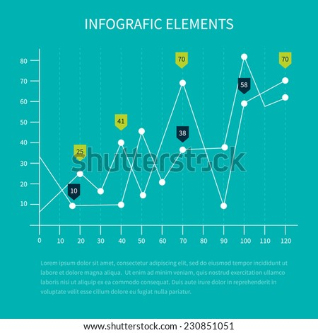 Detailed infographic elements. Vector illustration set of business statistics charts showing various visualization graphs and numbers. - stock vector