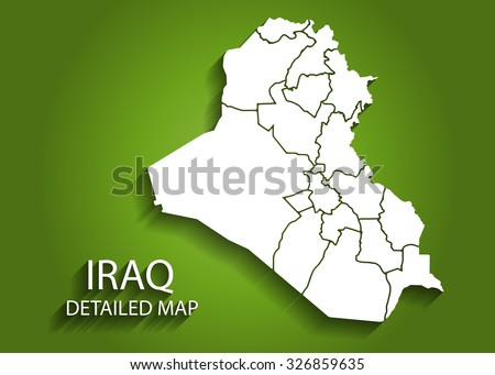 Detailed IRAQ Map on Green Background with Shadows - stock vector