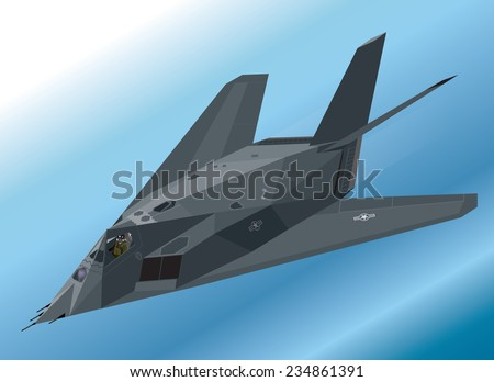 Detailed Isometric Illustration of an F-117 Nighthawk Stealth Fighter Airborne - stock vector