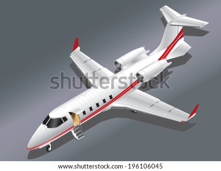 Detailed Isometric Vector Illustration of a Private Jet Parked for Boarding - stock vector