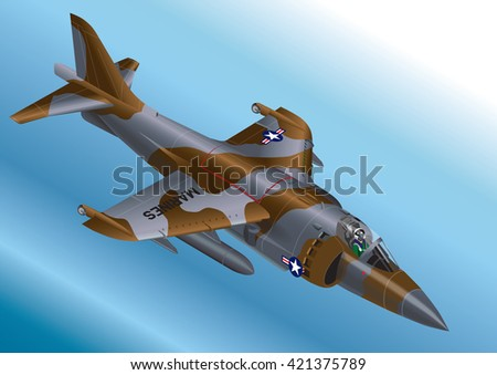 Detailed Isometric Vector Illustration of a US Marine Corp AV-8A / AV-8B Vertical Take Off Jet Fighter  - stock vector