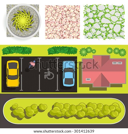 Detailed landscape design elements - easy to make your own plan - stock vector