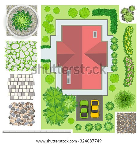 Trees top view easy use your stock vector 324087737 for Draw your own landscape plan