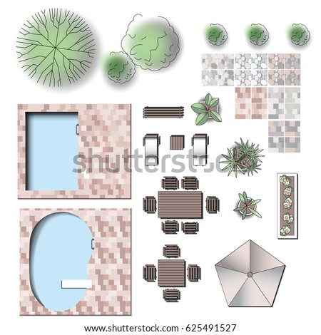 Detailed Landscape Garden Design Vector Elements For Structure Plan Make Your Own Top View Preview