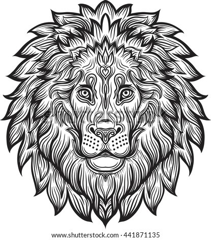 Lion Head Tattoo Stock Vector 161634716 Shutterstock