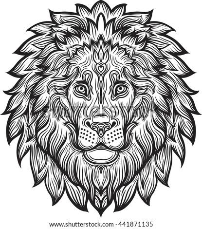 Detailed Lion Aztec Filigree Line Art Stock Vector